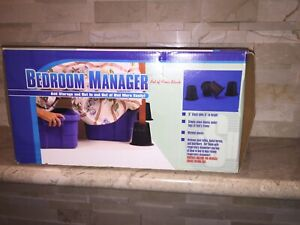 """BEDROOM MANAGER SET OF 4 BLACK 6"""" BLOCKS RAISE YOUR BED"""