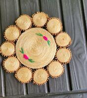 Vintage Woven Wicker Straw Trivet Mat Doily Rattan Raffia Home Decor Boho