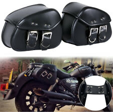 Black Mini Motorcycle Saddle Bag Cafe Racer Side Pouch Tool Storage Box PU Case