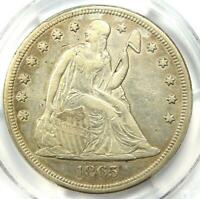 1865 Seated Liberty Silver Dollar $1 - PCGS XF Detail (EF) - Civil War Date Coin