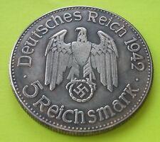 Reich Exonumia Coin Medal 5 Reichsmark 1942 Third Reich Hitler Germany WWII