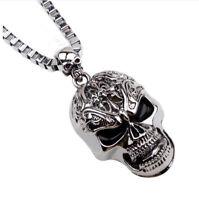 Biker Hals Kette Lang Blogger Farbe Silber Bettelkette Anhänger Totenkopf Skull