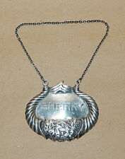 Sterling Silver Double Cornucopia Hand Engraved Sherry Decanter Label Ticket