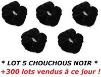 LOT 5 CHOUCHOUS VELOURS NOIR FEMME FILLE ELASTIQUES POUR CHEVEUX ...