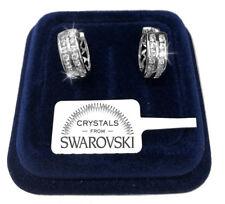 Cerchi 16mm Orecchini uomo donna pl.oro bianco 18K cristalli swarovski veri SW42