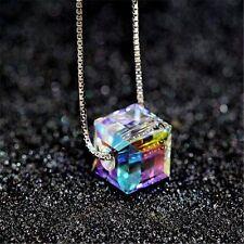 Aurora Silver Chain Colorful Square Stone Crystal Pendant Necklace Women Jewelry