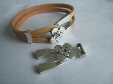 5 sets Antique Silver Flowers End Cap Bracelet Clasp For 5*2mm Flat Leather Cord