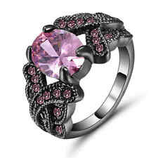 Size 8 Pink Sapphire Ring 10KT Black Gold Filled Engagement  Wedding Rings