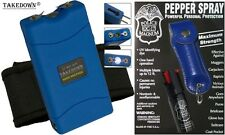 Blue Self Defense Kit 25M Volt Stun Gun and Keychain Pepper Spray