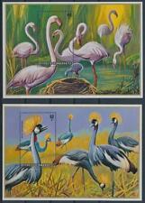 RWANDA 1975 BIRDS FLAMINGO/GREY CROWNED CRANE SOUVENIR SHEETS MNH BIRDL758