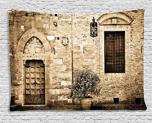 Rustic Tapestry Stone House Sepia View Print Wall Hanging Decor 80Wx60L Inches