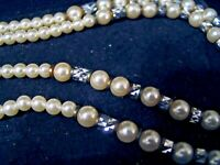 Double Strand Faux Pearl Necklace Reflective Beads Flapper Style 26""