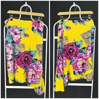 Womens KENZO Jeans Vintage Nylon Skirt Yellow Floral Print Stretch Size M