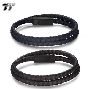 TT Leather 316L S.Steel Magnet Buckle Double Row Wristband Bracelet (BR282) NEW