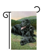 "Black Lab Family Printed in Usa (11"" x 18"" Approx ) Garden Size Flag Tg 60052"