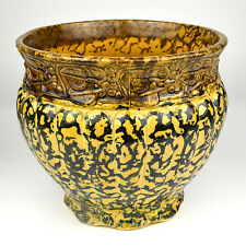 Spongeware Stoneware Yellow Ware Ribbed Flower Pot Bowl Brown Blue Crock Pottery