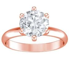 diamond engagement ring certified G Si 1.00ct round cut 14K rose gold solitaire