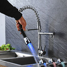 Chrome Kitchen Faucet LED Pull Out Spray Single Lever Swivel Sink Bar Mixer Tap