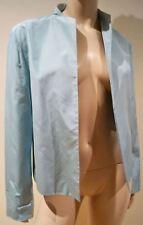 JIL SANDER Women's Pale Blue Sheen 100% Silk Open Front Blazer Jacket IT40; UK8
