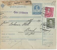 10 Heller Ganzsache Post Begleitadresse Innsbruck 12 + 30 Heller Firmenlochung