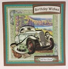 "Birthday card Handmade Male 3D ""Vintage car in Blue by Lake"""