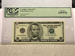 2001  FRN  5 Dollars Fr. 1988-L PCGS 65PPQ Gem New Star Note #11311