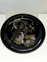 Japanese Otagiri OMC Decorative Black Plate Peacock and Flowers Trimmed In Gold