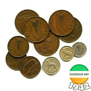 Collection of 1942 Irish issue coins, 79 Years Old!
