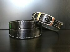 S/M Leather Dog Collar LINED Greyhound Whippet BLACK REPTILE LARGE PATTERN