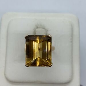 Vintage 18k yellow gold emerald cut natural citrine cocktail ring large handmade