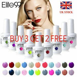 Elite99 15ML UV LED Colour Gel Nail Polish Manicure No Wipe Top Base Lacquer Set