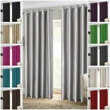 LUXURY PAIR OF FAUX SILK EYELET READY MADE FULLY LINED CURTAINS WITH TIE-BACKS