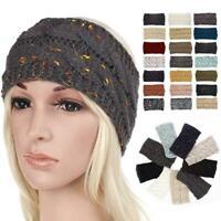 Women Soft Knitted Headband Head Wrap Ear Hair Band Crochet Turban Winter R9D2