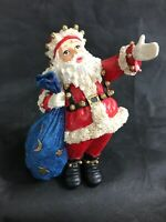 Santa Heavy Hand Painted Wood Figurine Big Blue Sack With Stars On It Looking Up