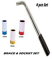 "Extendable Wheel Brace 21"" Bar 17mm, 19mm & 21mm 1/2"" Drive Alloy Wheel Sockets"