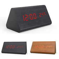 Voice-activated LED Time Temperature Dual Display Wooden Digital Alarm Clock A