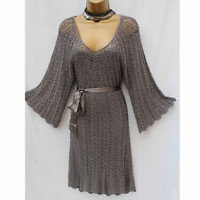 Karen Millen Crochet Knitted Silver Metallic Boho Cocktail Party Dress KM2/10-12