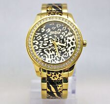 New Guess U0465L1 Crystals Bezel Animal Print Golden Stainless Steel Women Watch
