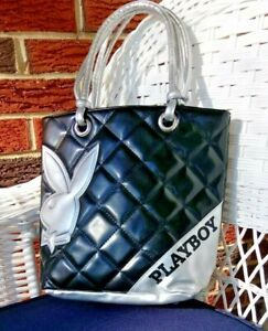 Vintage Playboy Black & Silver Rabbit Head Fashion Handbag Purse Pocketbook