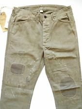 New Ralph Lauren RRL Olive Green 100% Cotton Repaired Work Pants size 32 x 34
