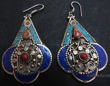 E36 handmade Tibetan Silver Turquoise coral Lapis resin ladies fashion earrings