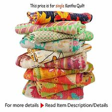 Vintage Throw Kantha Quilt Indian Handmade Cotton Bedspread Reversible Bedding