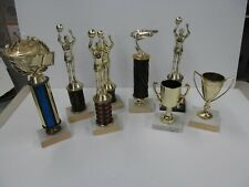 Lot Of 8  Vintage Trophies Basketball pinewood derby jeopardy cups