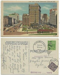 CLEVELAND OHIO Public Square Looking East - Canadian Postage due on back