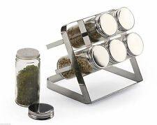RSVP Compact Spice Rack Counter Top 6 Bottles / Jars Chrome Store Organize COM-6