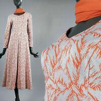 M Vintage 1960s Orange Maxi Dress Hostess Gown Silver Brocade Sash Long Slv 60s