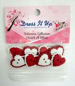 Jesse James Dress it Up Button Embellishments Heart of Mine Valentine 8 pcs