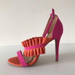 Qupid Eur 40 Fray Heel Sandal Pink Orange Open Toe High Heel Ruffle Ankle Strap