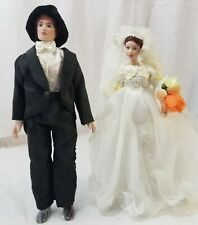 "Porcelain dolls ""BRIDE & GROOM unbranded movable arms~legs vintage"