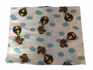 Vintage Cotton Flannel Baby Receiving Blanket Teddy Bear Balloon Pastel Hospital